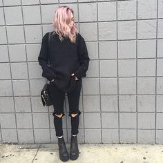 grunge, girl, and black afbeelding