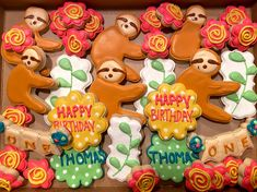 Sloths of Fun 1st Birthday Decorated Cookies
