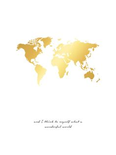 Poster of a world map in a beautiful gold shiny design and the text a poster with gold foil which gives an exclusive shiny print nice for gold and brass decor gumiabroncs Gallery