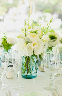 Maybe use mason jars for vases? T.C. is from Georgia so this can be a tribute to his roots :)