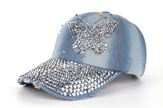 High quality JoyMay Hat Cap Fashion Leisure Cross Cap Rhinestones butterfly  Jean Cotton CAPS Baseball Cap 3a7738c6465