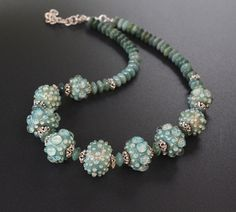 Lampwork, gemstones and silver necklace 'Princess Anna'