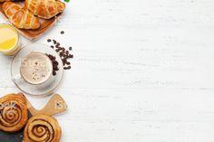 Coffee, croissants, orange juice, cinnamon rolls and berries. Breakfast Photo, Croissants, Orange Juice, Cinnamon Rolls, Latte, Berries, Stock Photos, Coffee, Image