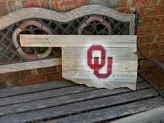 Oklahoma Sooners wall decor... Other side you could put OSU and hang out like a flag away from wall