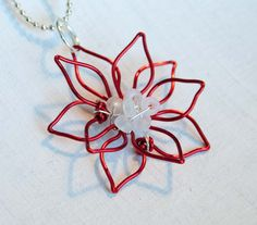 Poinsettia Flower Necklace, 3D Flower, Red Wire Wrap Jewelry
