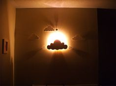 DIY Cloud Wall Night Light - this could be done with any shape, in any room- like the bathroom when you've gotta pee in the night but don't want to singe your retinas by turning on the regular light.