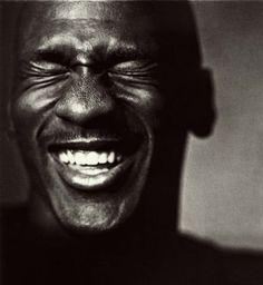 Michael Jordan laughing (by Nadav Kander)