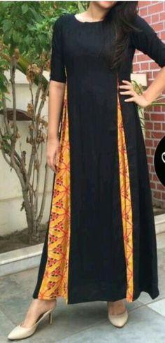Black kurta with yellow plazo stylish look. Pakistani Dresses, Indian Dresses, Indian Outfits, Kurta Patterns, Dress Patterns, Salwar Designs, Blouse Designs, Indian Attire, Indian Wear