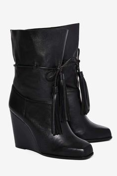 Jeffrey Campbell Larusso Leather Wedge Boot - Boots + Booties | Newly Added | Feminine Utilitarian | Jeffrey Campbell