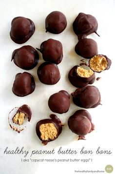 "Healthy Peanut Butter Bon Bons (aka ""Copycat Reese's Peanut Butter Eggs"") are made with only 5 clean ingredients and they're vegan, gluten-free and have no refined sugar. Enjoy!"