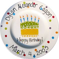 Large Ceramic Birthday Plate 10.5 Personalized by JeurekaDesign $30.00 | Personalized Pottery Plus | Pinterest | Birthday plate Birthdays and Custom items  sc 1 st  Pinterest & Large Ceramic Birthday Plate 10.5 Personalized by JeurekaDesign ...