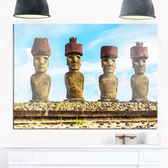 Moai with Red Topknot Hat - Portrait Photo Glossy Metal Wall Art