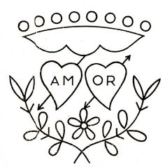 """""""Amor"""" (love in Portuguese) Embroidery Pattern Embroidery Hearts, Hand Embroidery Patterns, Vintage Embroidery, Cross Stitch Embroidery, Cross Stitch Patterns, Embroidery Designs, Mosaic Patterns, Craft Activities, Creative Crafts"""