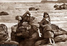 Two girls on the rocks by the sea. (Photo by Frank Meadow Sutcliffe/Getty Images) Old Photography, Stunning Photography, Beach Photos, Old Photos, Vintage Photographs, Vintage Photos, Nostalgic Images, Getty Museum, Children Images