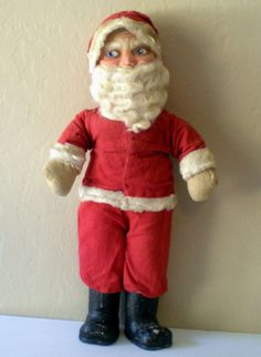 Very Old Plush and Paper Mache Musical Santa Claus