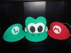 Super-Mario-inspired-Yoshi-Luigi-Party-hats Mario Party Costume, Yoshi Costume, Super Mario Birthday, Super Mario Party, Halloween Costumes For Kids, Halloween Party, Halloween 2018, Summer Camp Themes, Summer Fun