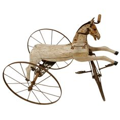Wooden Horse Tricycle  France  late 1800's  Charming carved wood horse tricycle