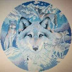049 Call Of The Wolf 168W x 168H. Counted cross stitch. Pattern $14.00, kit $26.49. Kits are customized. Kit includes instructions, pattern, pre-sorted thread, cloth in colour of choice (white, ivory, grey, black, oatmeal, dark blue, light blue, red) and in a choice of 14 count, 16 count, or 18 count.   Available for purchase by emailing me @ sgentes1@gmail.com with your interested projects and you will be invoiced via PayPal where purchases can be paid for.  Happy shopping…