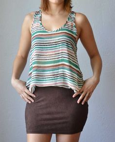 Lightweight chiffon racerback tank with stripes in shades of teal, pink, brown, black, grey and ivory. $26.50