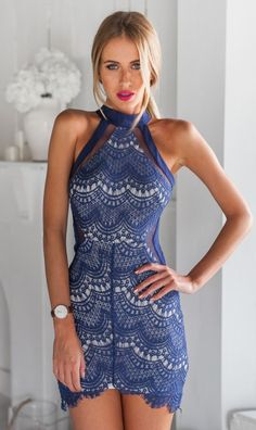cobalt lace halter dress