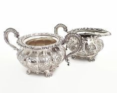 Silver plated sugar bowl and creamer, Hardy Bros, Sheffield, heavily embossed larger pieces, circa mid 20th century by CardCurios on Etsy Vintage High Tea, Vintage Silver, Silver Spoons, Silver Plate, Birthstone Stacking Rings, Sugar Bowls And Creamers, Ginger Jars, Sheffield, Emboss