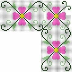 Embroidery in checkered fabric - tablecloth (details on embroidery . visit) Embroidery in checkered fabric – tablecloth (details on embroidery … visit) Mini Cross Stitch, Simple Cross Stitch, Cross Stitch Rose, Cross Stitch Embroidery, Hand Embroidery, Easy Cross Stitch Patterns, Cross Stitch Borders, Cross Stitch Designs, Seed Bead Flowers