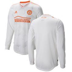 premium selection 95918 f0e55 Men s Atlanta United FC adidas White King Peach Authentic Long Sleeve Jersey