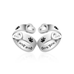 I will love you forever Pet paw prints rings Pet lover Dog Cat Memorial black Enamel Ring men Cute Puppy Paw Ring Jewelry couple