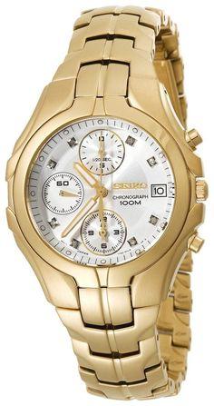 Seiko Women's SNDZ22 Excelsior Chronograph Gold-Tone Watch