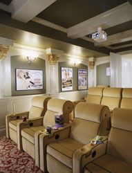 Art deco home theater design - I'd change the chairs/color and put in a couple couches but this is fab!