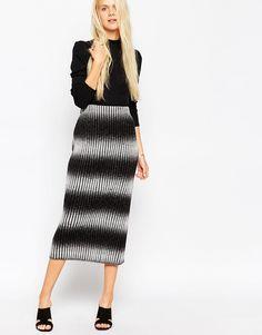 Image 1 ofASOS Midi Skirt in Chunky Knitted Rib