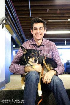 Pinterest: Dogs in the Workplace - Pinterest engineer Steve with his dog Lana -  Q: Does your dog have any daily tasks they perform during the work day?  A: She writes a lot of unit tests for our A.P.I.