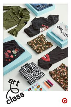 The Fall Semester collection from Art Class is jam-packed with statement pieces that girls can mix and match into their own signature style, then rock it loud & proud. From patch-filled jackets and skirts to camo prints, each piece is designed to stand out. Plus, kids can get creative and bring even more personality to every outfit through a few easy DIYs.