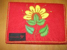 Embroidered felt purse