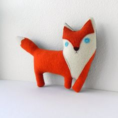 the Fox   plush wool pillow by ThreeBadSeeds on Etsy. WOW! Look at this beautiful little 'red' fox; a true red fox like you've never seen before. He's extra special.