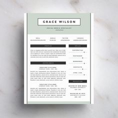 Creative Resume Template and Cover Letter Template for Word | DIY Digital Download | The Grace | Modern and Professional Two Page CV Design