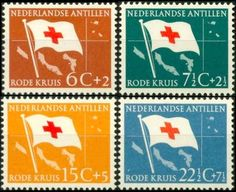 Netherlands Antilles Red Cross semipostal December 1, 1958 Red cross flag and map