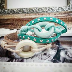 Handmade leather bracelets with ceramic glass
