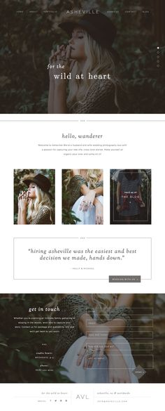 DEMO: http://asheville.heartencreative.com/home For the wild at heart. Asheville is modern website template featuring beautiful full-width photos, dynamic click-through lists, and a subtle bohemian vibe. Everything about this design can be changed, so if you love the functionality, just remember that a quick change of fonts, colors, and photos can completely transform the look and feel. - - - - - Need a new website but not sure how this all works? Let me walk you through it:...