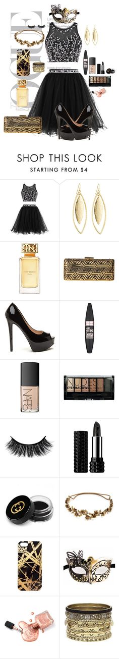 """""""Masquerade Ball"""" by kayley2103 ❤ liked on Polyvore featuring Fragments, Tory Burch, Love Moschino, Maybelline, NARS Cosmetics, Boohoo, Kat Von D, Gucci, Jennifer Behr and Khristian A. Howell"""