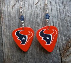 Red Texans Guitar Pick Earrings with Crystals by ItsYourPickToo on Etsy
