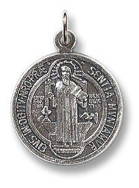 """3pc St. Benedict Exorcism Medal. Our Silver Oxidized Saints Medals Come on a Convenient Jump Ring, Ready for a Stainless Steel Chain. -- Oxidized Silver -- 3/4"""" H. Lay Catholics Are Not Permitted to Perform Exorcisms but They Can Use the Saint Benedict Medal, Holy Water, the Crucifix, and Other Sacramentals to Ward Off Evil. Value Line,http://www.amazon.com/dp/B00CX4VH58/ref=cm_sw_r_pi_dp_QZe7sb0190CVZDHV"""