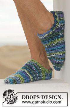 """2014 Crochet DROPS slippers in """"Big Fabel"""". Size 35-44 ~ DROPS FREE pattern ❋ • ❁ Teresa Restegui http://www.pinterest.com/teretegui/ •✿ •❀"""