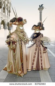 Man and woman dressed in the carnival of Venice, Italy. - stock photo