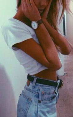 denim shorts + crop top