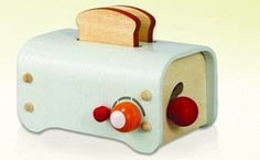 Wooden Playthings by PlanToys: Toaster - These kitchen and food themed play sets, tables and chairs from PlanToys aren't just crafted to last a lifetime, they are also made of the best sustainable materials available. Whether playing house with tiny refrigerators and microwaves or hosting a picnic with their stuffed animals, your little ones are certain to cherish these pieces for years to come. Photo credit: MyHabit