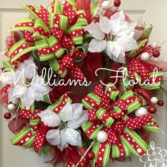 christmas wreath whimsical red and green mesh wreath polka dot by williamsfloral