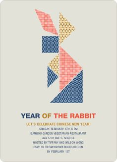 year of the rabbit new year party invite.