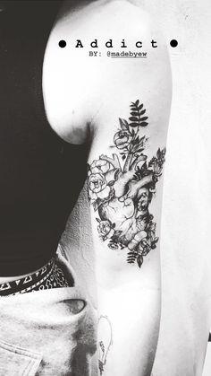 Tattoo anatomical heart with flowers. #anatomy #tattoo