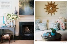 May 2012 - Lonny Magazine - Lonny love the pillows and the little blue table by the fireplace Living Room Interior, Dreamy Room, Decor, Interior Inspiration, Front Room, Home, Blue Table, Home Decor, Decor Styles